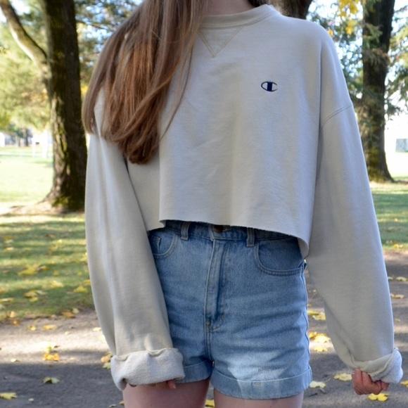 Champion Sweaters Beige Cropped Pullover Sweatshirt