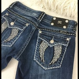Miss Me Angel wings boot cut jeans