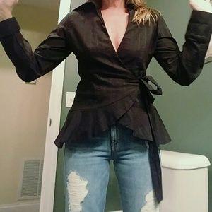 Black Wrap Shirt EUC !