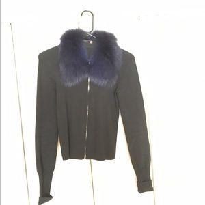 Sweaters - Sweater w detachable rabbit fur collar