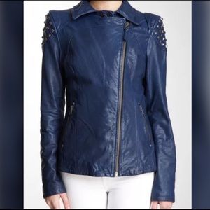 Mackage Jackets & Blazers - Mackage Oceana Studded Teal Leather Jacket Small