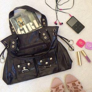 Handbags - Faux Leather Dark Aubergine Bag