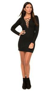 Dresses & Skirts - Black lace up vneck mini