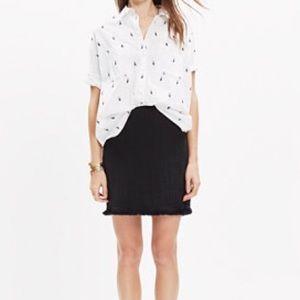 Madewell Hideaway Black Fringe Skirt