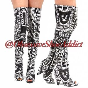 cape robbin Shoes - Black and White RiRi Boots