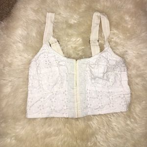 White lace crop top from Free People size XS