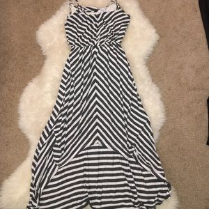 Gray/white stripe high-low Bar III dress size XS