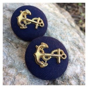 Vintage Jewelry - Vintage Nautical Gold Navy Anchor Clip On Earrings