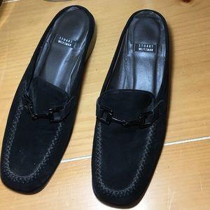 Stuart Weitzman Shoes - STUART WEITZMAN black swede mule loafers