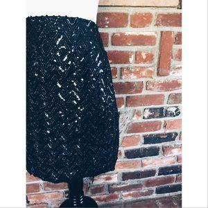 Vintage Dresses & Skirts - Vtg90s Black High Waist Sequins Pencil Skirt SM
