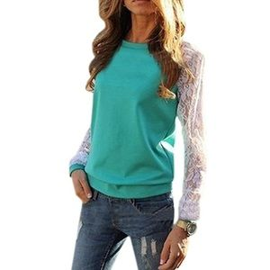 Sweaters - Turquoise Blue Lace Sleeve Crewneck Shirt Top