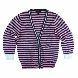 J. Crew Sweaters - JCREW Pink & Navy Stripe Gauze Cardigan Sweater