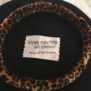 793e45d414f7e Social Function Hat Company Accessories - Black Wool   Animal Print Beret
