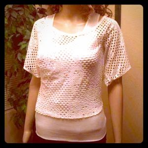 Ambiance Apparel Tops - NEW Women's White Layered Top sz small