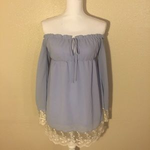 Forever 21 Dresses & Skirts - Lavender Off The Shoulder Dress with Lace Trimming