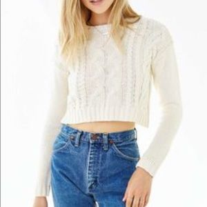 Urban Outfitters Sweaters - Urban Outfitters Ivory Cable Knit Crop Sweater