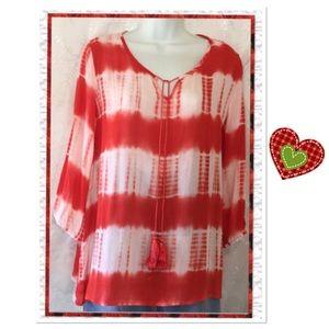 🎉 HP 🎉🎉 Tie Dye Peasant Blouse, NWOT