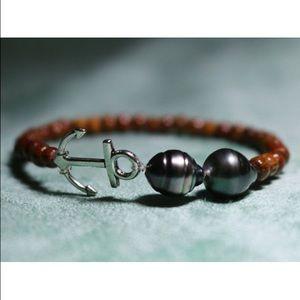 Jewelry - Custom Elastic Anchor/Tahitian Pearl Bracelet
