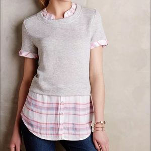 NEW Anthro Postmark Picnic Plaid Layered Sweater S