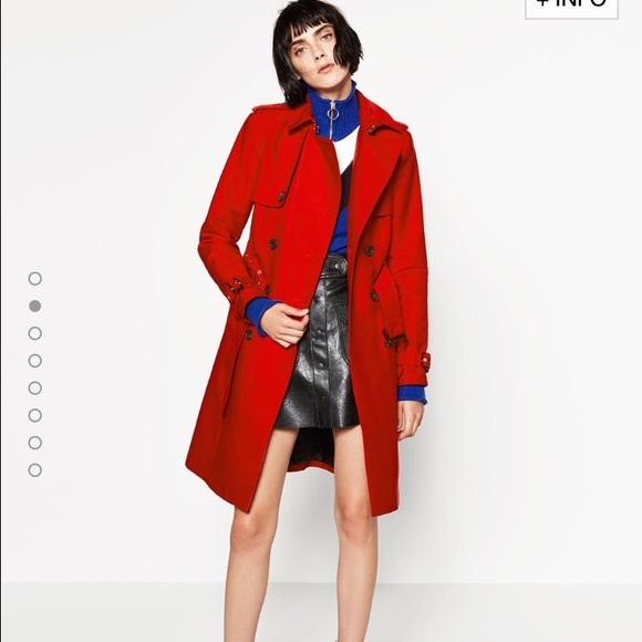 afe796d3 Zara Jackets & Coats   Water Resistant Red Trench Coat   Poshmark
