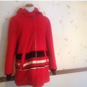 🎈Firm🎈 Vintage Red Wook Coat With Hood, Zipper