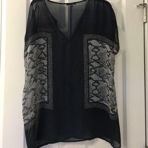 Sheer navy blue shirt blouse, long sz L/XL