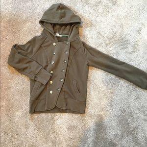 Deliah's Olive Light Sweatshirt Jacket Size Small