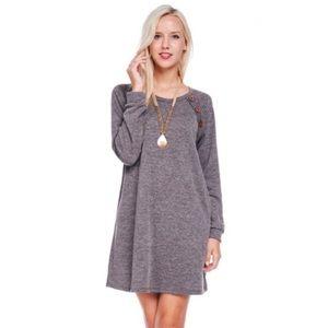 GlamVault Dresses & Skirts - 🆑 Charcoal LongSleeve Sweater Dress Button Accent