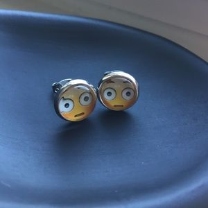 Emoji Fun Face Stare Stud Earrings NWT