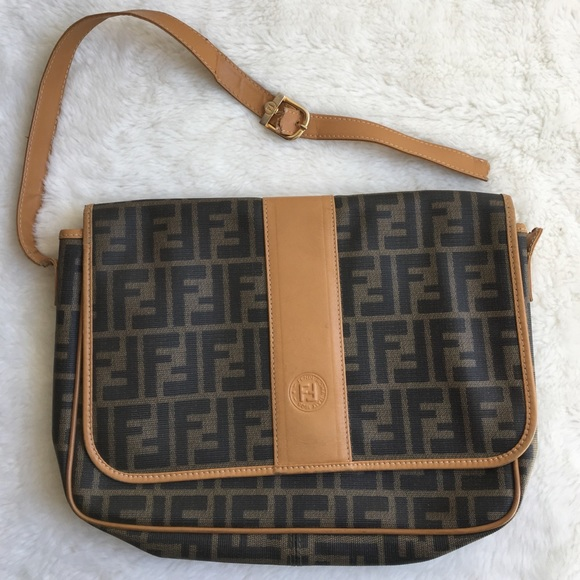 eaea2fc97f966 Fendi Handbags - Vintage FENDI Monogrammed Leather Flap Bag