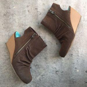 Blowfish Shoes - Blowfish Brown Suede Wedge Ankle Cutout Booties