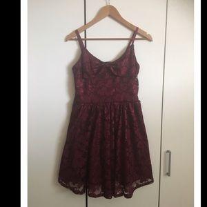 American Rag Burgundy/Wine Lace Fit & Flare Dress