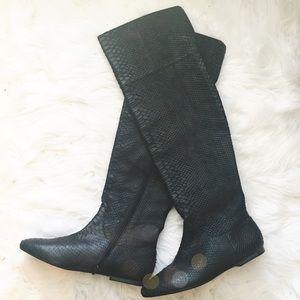 Zara Shoes - NWOT Zara Snake Embossed Leather OTK Boots
