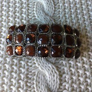 SALE--Topaz/Brown Gemstone Stretch Cuff Bracelet