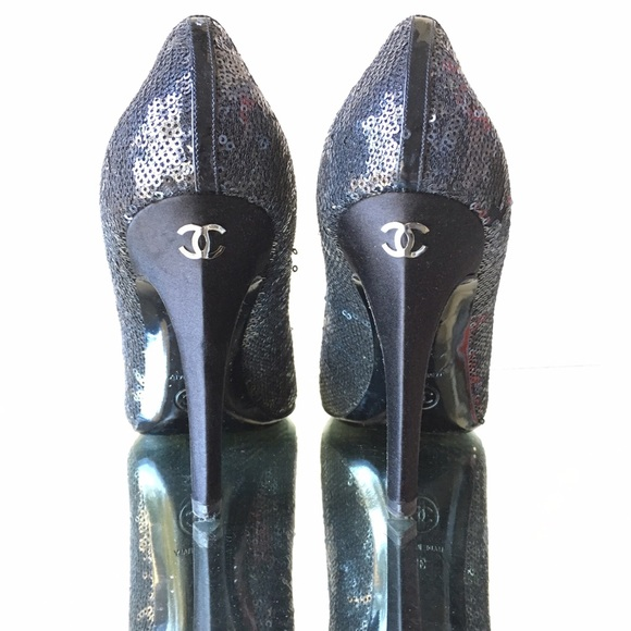 72 chanel shoes authentic chanel sequin black high
