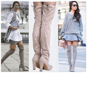 Shoes - Nude Over The Knee Stretchy Suede Thigh High Boots