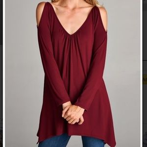 Cold Shoulder Hi-Low Tunic Top