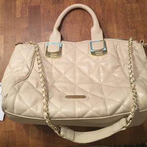 Large tan Steve Madden satchel bag with strap