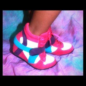 Shoes - Purple pink aqua blue teal white Hi top sneakers