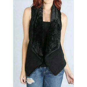 New black faux fur cardigan vest