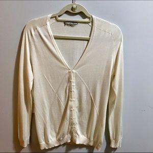 Ports 1961 Sweaters - Ports 1961 ivory/cream silk pointelle cardigan
