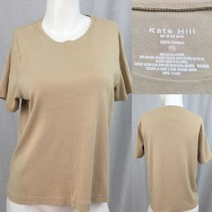 Kate Hill Tops - 👒Size 1X Kate Hill Tan Basic Short Sleeve Top