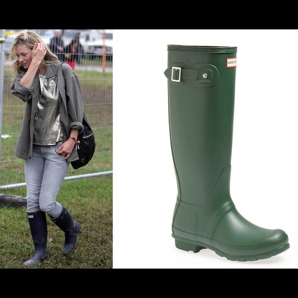 Wonderful Hunter Original Adjustable Women Rubber Green Rain Boot Boots