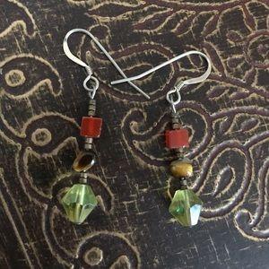 Jewelry - Sterling/Tigereye/Carnelian earrings