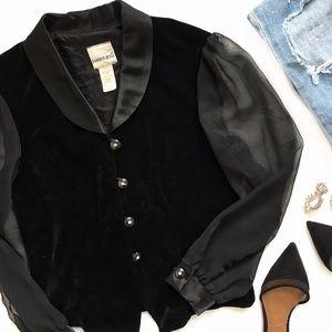 Fashion Bug Jackets & Blazers - Black Velour Button Mesh Sleeves Blazer