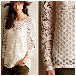 NWT Anthropologie Laced Interlude Tee lace top S