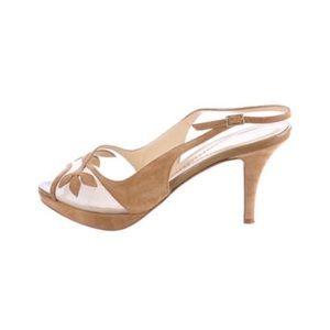 kate spade Shoes - Kate spade nude floral Leaf sling back heel