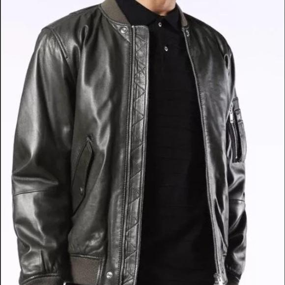 18a7b147a Diesel Men L-Kit Leather Jacket Coat Bomber NWT