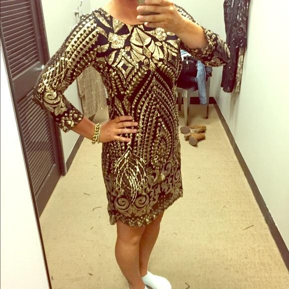 3076b2636a Gianni Bini Dresses   Skirts - Gianni Bini Baroque Gold and Black Sequin  Dress