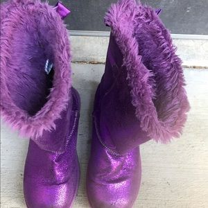 Metallic purple girls boots sz 2